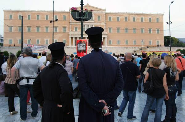 Priests at a citizens protest in main Athens' Syntagma Square [ARCHIVE MATERIAL 20110608 ]
