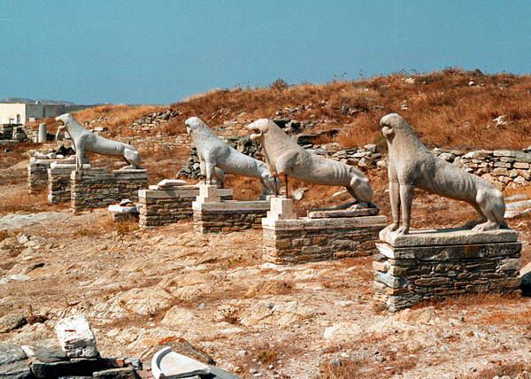 Greece, statues of lions on Delos