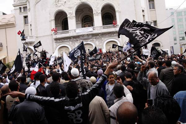 Salafists protest in Tunis