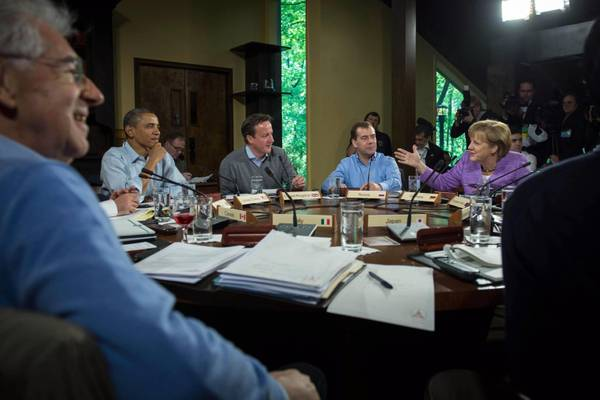 From L-R Italy's Prime Minister Mario Monti, US President Barack Obama, British Prime Minister David Cameron, Russian Prime Minister Dmitry Medvedev and German Chancellor Angela Merkel sitting at a table during a recent G8 meeting in Camp David