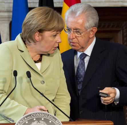 German Chancellor Angela Merkel and Italian Prime Minister Mario Monti