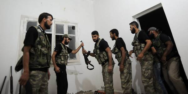 Syrian rebels near Aleppo