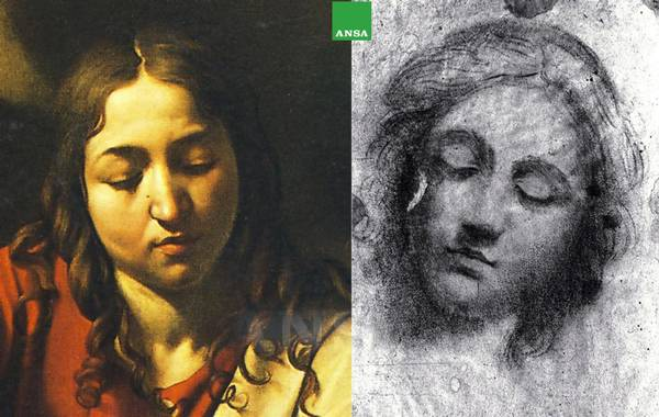 The face of Christ in 'Dinner in Emmaus' by Caravaggio and the study drawn by young Merisi in Peterzano's workshop
