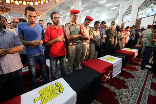 Funeral of 16 Egyptians soldiers killed in sinai