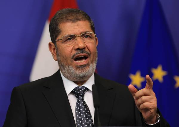 Egyptian President Mohamed Morsi during a press conference today in Brussels