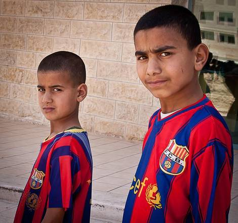 Children wearing a Barcelona shirt inTel Aviv
