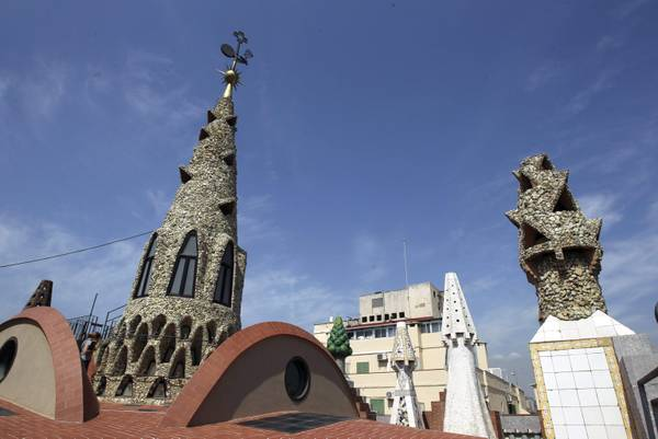 A view of one of the Guell Palace's towers in Barcelona