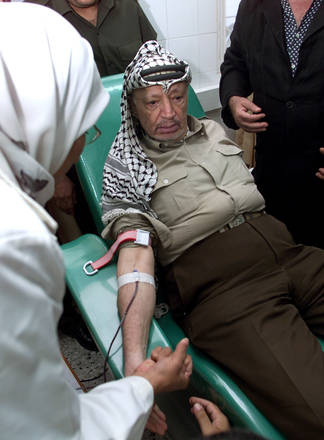 Yasser Arafat donating blood