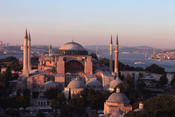 A general view of Hagia Sophia during sunset, in Istanbul