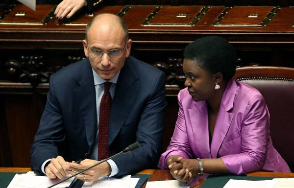 Italian Premier Enrico Letta and Integration Minister Cecile Kyenge at the Lower House, ahead of the EU Council meeting in Brussels.