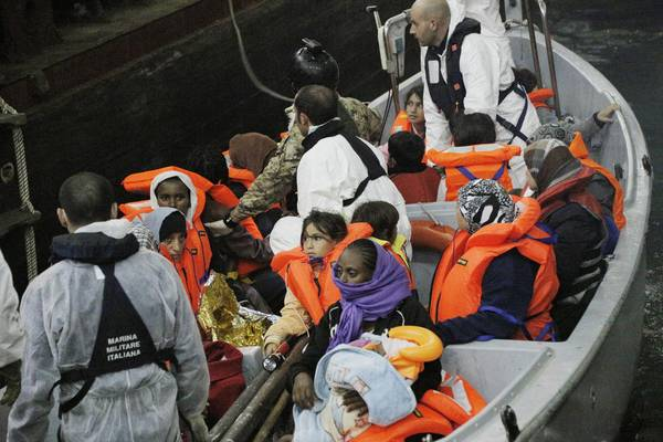 Migrants rescued in Lampedusa