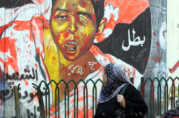 Graffiti painting on walls in Tahrir Square