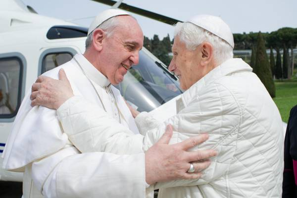 The meeting betwenn Pope Francis and Pope emeritus Benedict XVI