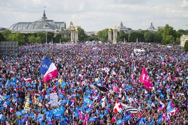 Thousands of protesters gathers at the Invalides to demonstrate against the already passed law on same sex marriage in Paris