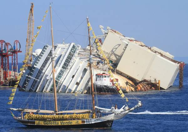 The partially submerged Concordia cruise ship