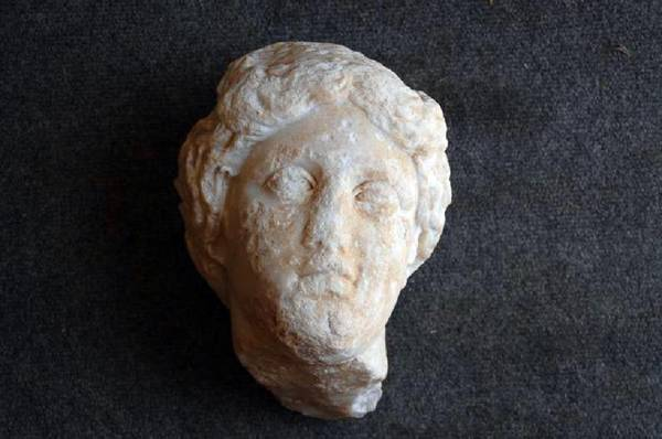 The life-sized marble head of Aphrodite found at the site of Antiochia ad Cragum, on the Turkey's Mediterranean coast