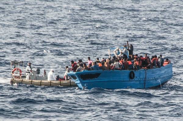 A boat carrying migrants rescued off the coast of Lampedusa, Sicily