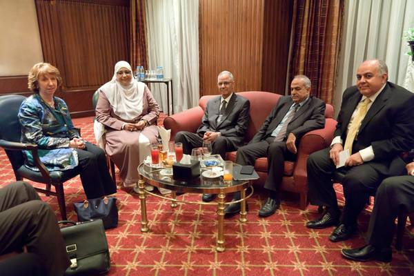 (L-R) EU High Representative for Foreign Affairs and Security Policy, Catherine Ashton, meeting with, among others,  Member of the Muslim  Brotherhood Freedom and Justice Party (FJP, center of photo), in Cairo, Egypt, 02  October 2013