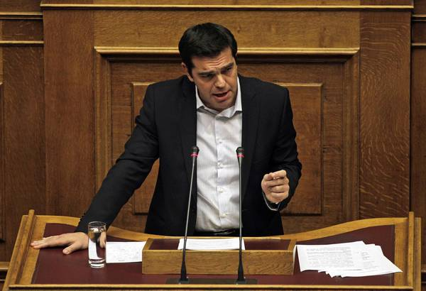 Leader of main opposition Left wing party SYRIZA, Alexis Tsipras