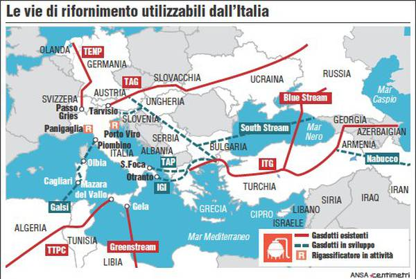 The gas pipelines which could be used by Italy