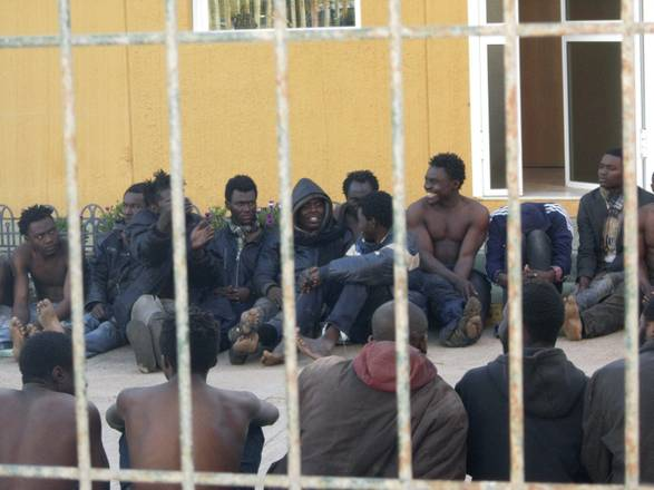Illegal migrants at the local temporary immigrant holding center in Melilla