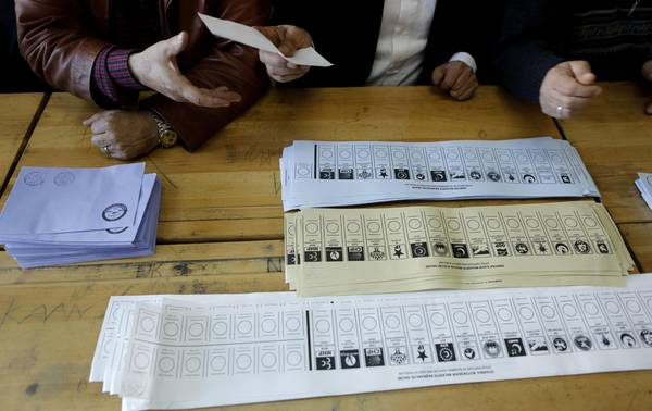 Ballot papers in a polling station in Istanbul