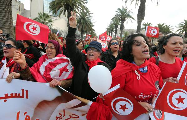 Tunisian women demostrate on Women's day
