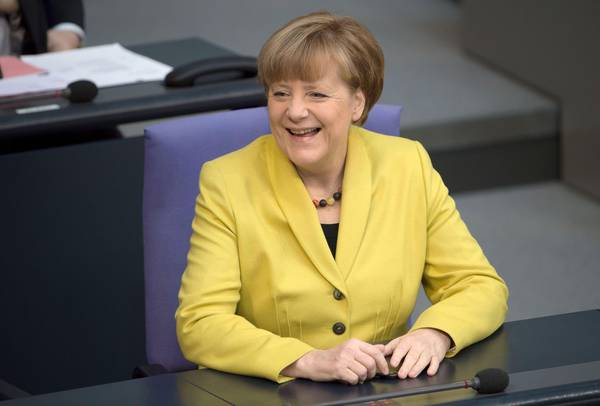 German Chancellor Angela Merkel in the Bundestag in Berlin before a vote on extending Greece's bailout