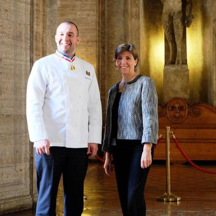 French ambassador to Italy, Catherine Colonna, and the Elysee Palace chef Guillaume Gomez at the 'Gout de France' presentation in Rome