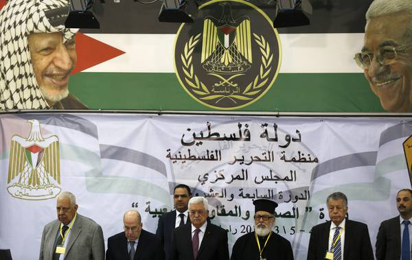 Palestinian National Authority President Mahmoud Abbas attends PLO meeting