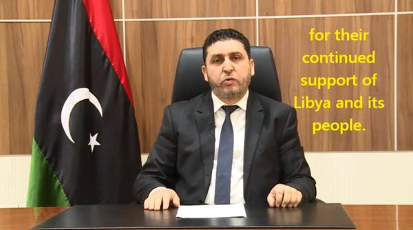 Khalifa Ghwell, the 'rebel' Libyan premier hostile to the unity government of Fayez Sarraj, in a freeze-frame from a video posted on YouTube on April 1, 2016