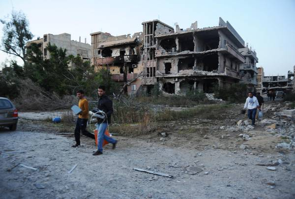 Damaged buildings in Benghazi