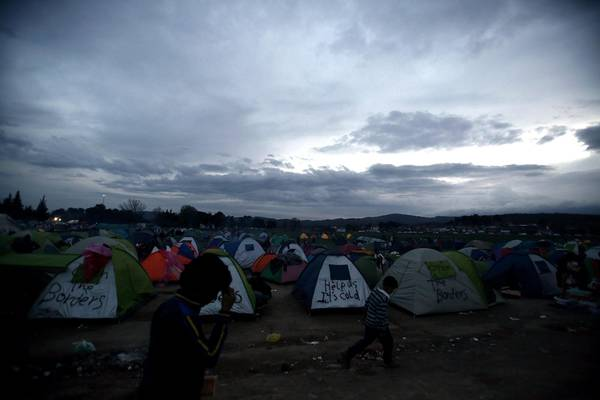 Refugees situation in Idomeni, Greece, at the borders with FYROM
