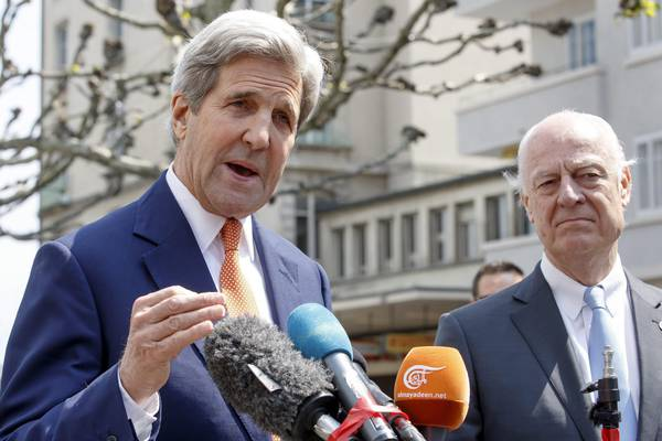 Kerry and de Mistura meet on the Syria crisis