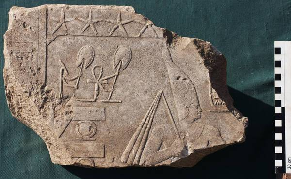 A relief discovered by the Egyptian-German Archaeological Mission to Matariya in Egypt
