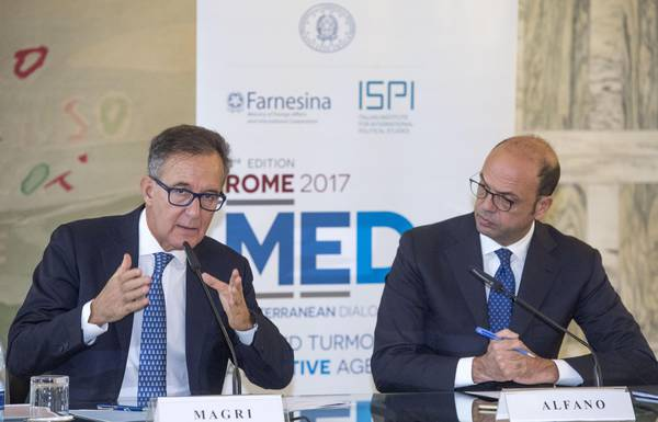 ISPI Director, Paolo Magri (L) and Italian Minister for Foreign Affairs, Angelino Alfano
