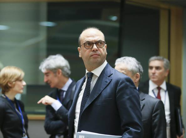 Italian Foreign Minister, Angelino Alfano, at the European Foreign Affairs Council in Brussels,