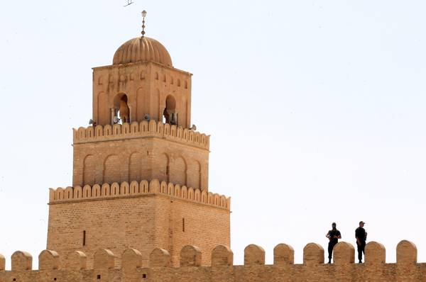 The minaret of the Okba Ibn Nafaa mosque in Kairouan, 153 km south of Tunis