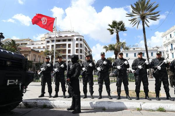 Tunisian security forces celebrate the anniversary of the victorious battle with ISIS militias in Ben Guerdane