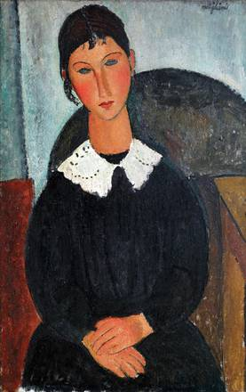 Elvire con colletto bianco (Elvire con collettino) di Amedeo Modigliani, 1917 o 1918