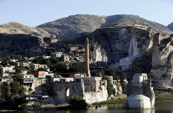 A view of the millenary city of Hasankeyf on the Tigris river in Turkey