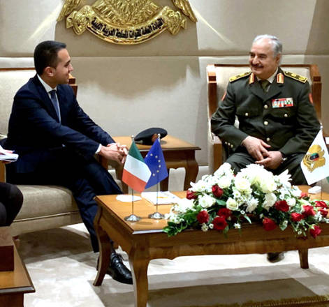 Italian Foreign Minister Luigi Di Maio meets with General Khalifa Haftar in Benghazi