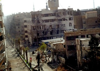 Damaged buildings in the Daraya area in the rural Damascus (archive)