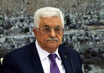 Palestinian President Mahmoud Abbas presides a meeting of the Pales