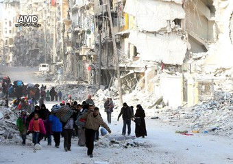Displaced people in eastern Aleppo
