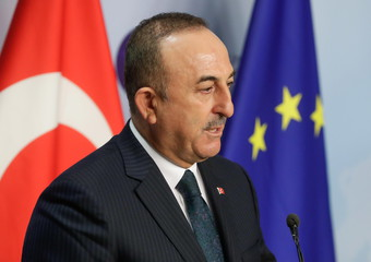 Turkish Foreign Minister Mevlut Cavusoglu in Brussels