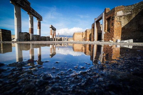 A view of the archaeological excavations of Pompeii after a rainfall