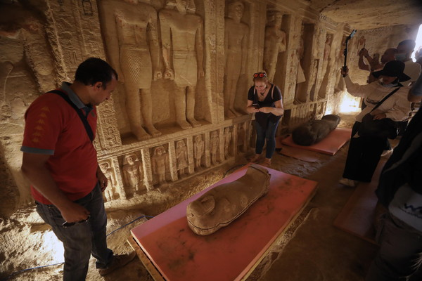 A collection of 59 coffins uncovered in Saqqara